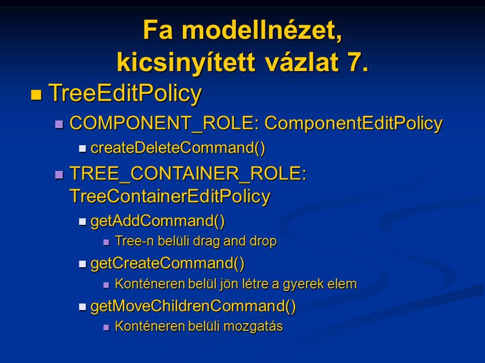Fa modellnézet, kicsinyített vázlat 7. TreeEditPolicy TreeEditPolicy COMPONENT_ROLE: ComponentEditPolicy COMPONENT_ROLE: ComponentEditPolicy createDel