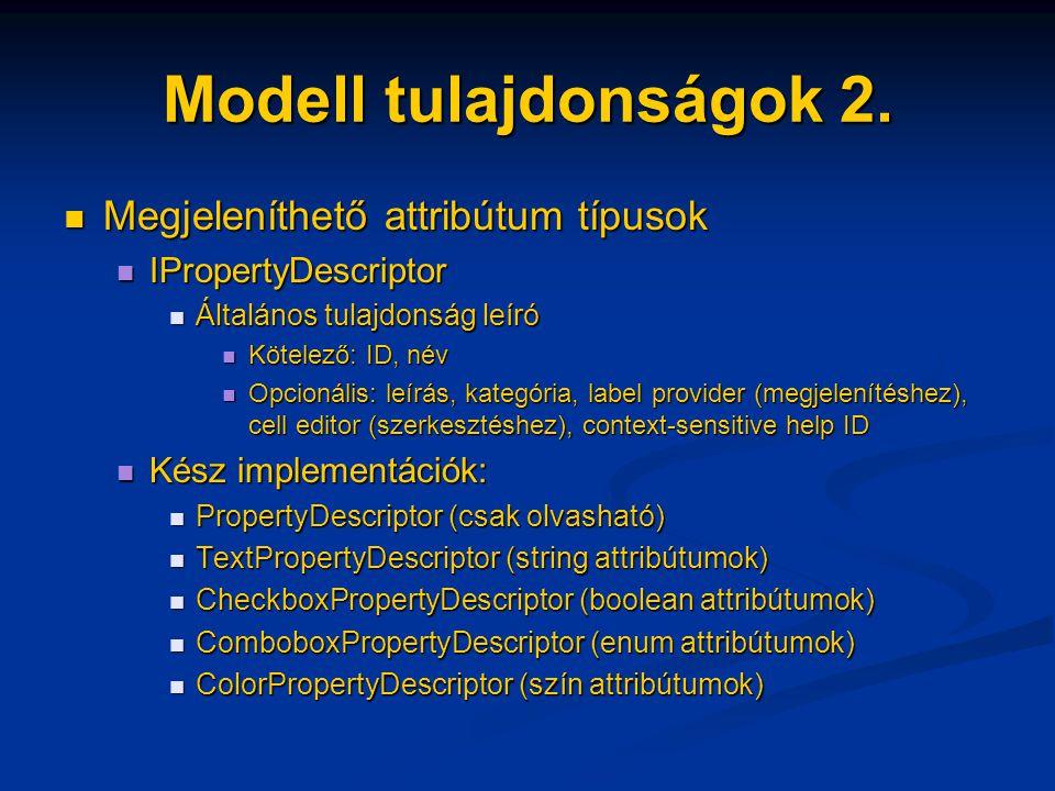 Modell tulajdonságok 2. Megjeleníthető attribútum típusok Megjeleníthető attribútum típusok IPropertyDescriptor IPropertyDescriptor Általános tulajdon