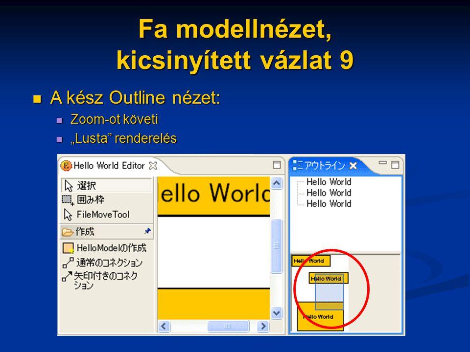 """Fa modellnézet, kicsinyített vázlat 9 A kész Outline nézet: A kész Outline nézet: Zoom-ot követi Zoom-ot követi """"Lusta"""" renderelés """"Lusta"""" renderelés"""