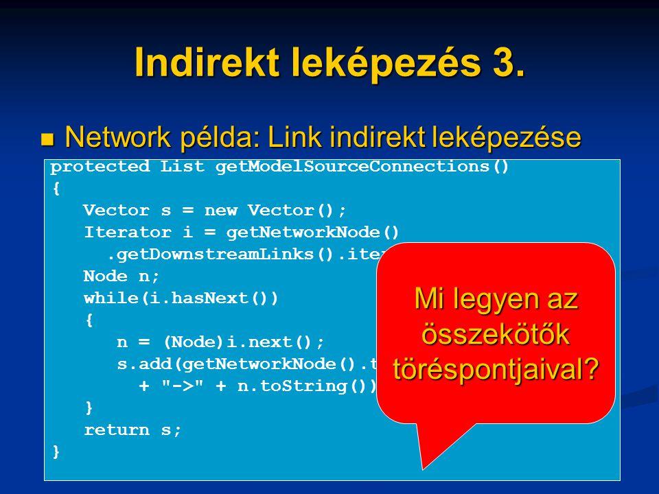Indirekt leképezés 3. Network példa: Link indirekt leképezése Network példa: Link indirekt leképezése protected List getModelSourceConnections() { Vec