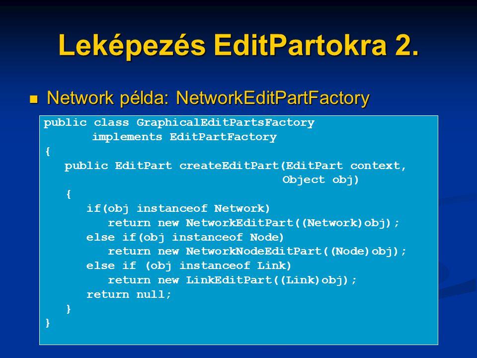 Leképezés EditPartokra 2. Network példa: NetworkEditPartFactory Network példa: NetworkEditPartFactory public class GraphicalEditPartsFactory implement