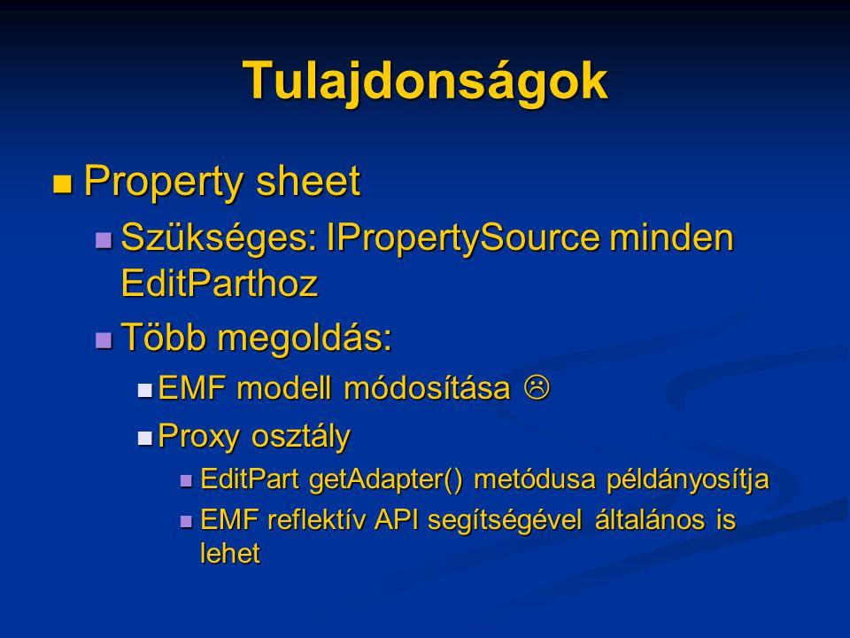 Tulajdonságok Property sheet Property sheet Szükséges: IPropertySource minden EditParthoz Szükséges: IPropertySource minden EditParthoz Több megoldás: Több megoldás: EMF modell módosítása  EMF modell módosítása  Proxy osztály Proxy osztály EditPart getAdapter() metódusa példányosítja EditPart getAdapter() metódusa példányosítja EMF reflektív API segítségével általános is lehet EMF reflektív API segítségével általános is lehet