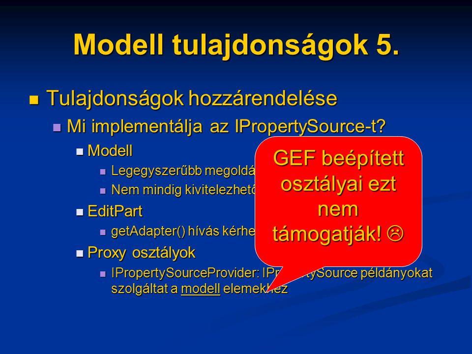 Modell tulajdonságok 5. Tulajdonságok hozzárendelése Tulajdonságok hozzárendelése Mi implementálja az IPropertySource-t? Mi implementálja az IProperty