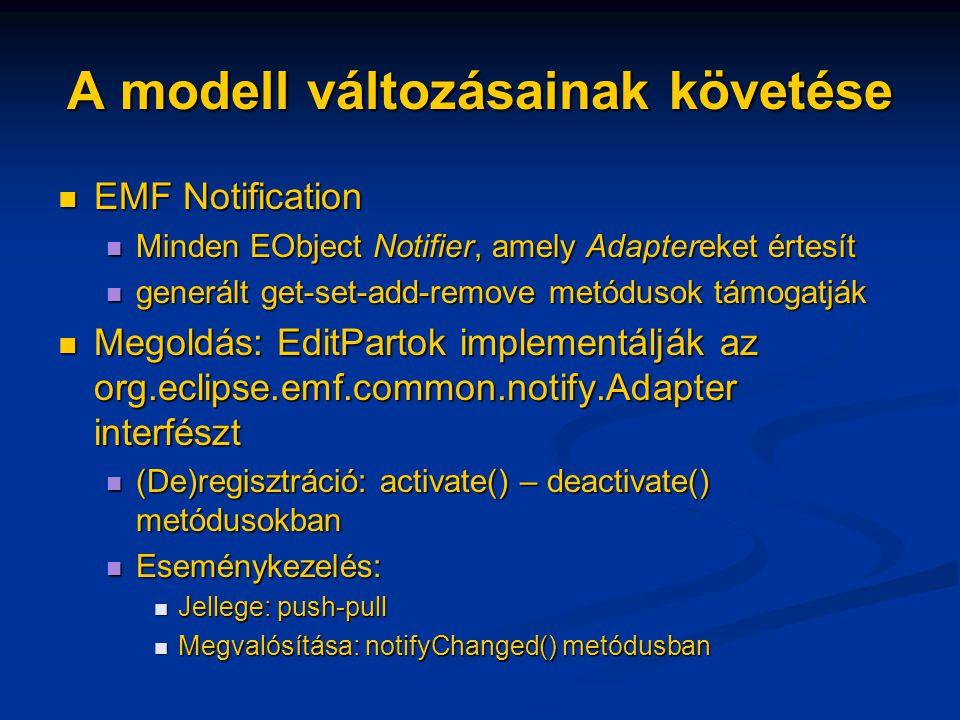 A modell változásainak követése EMF Notification EMF Notification Minden EObject Notifier, amely Adaptereket értesít Minden EObject Notifier, amely Adaptereket értesít generált get-set-add-remove metódusok támogatják generált get-set-add-remove metódusok támogatják Megoldás: EditPartok implementálják az org.eclipse.emf.common.notify.Adapter interfészt Megoldás: EditPartok implementálják az org.eclipse.emf.common.notify.Adapter interfészt (De)regisztráció: activate() – deactivate() metódusokban (De)regisztráció: activate() – deactivate() metódusokban Eseménykezelés: Eseménykezelés: Jellege: push-pull Jellege: push-pull Megvalósítása: notifyChanged() metódusban Megvalósítása: notifyChanged() metódusban