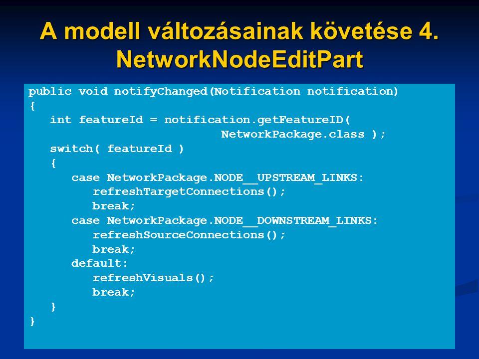 A modell változásainak követése 4. NetworkNodeEditPart public void notifyChanged(Notification notification) { int featureId = notification.getFeatureI