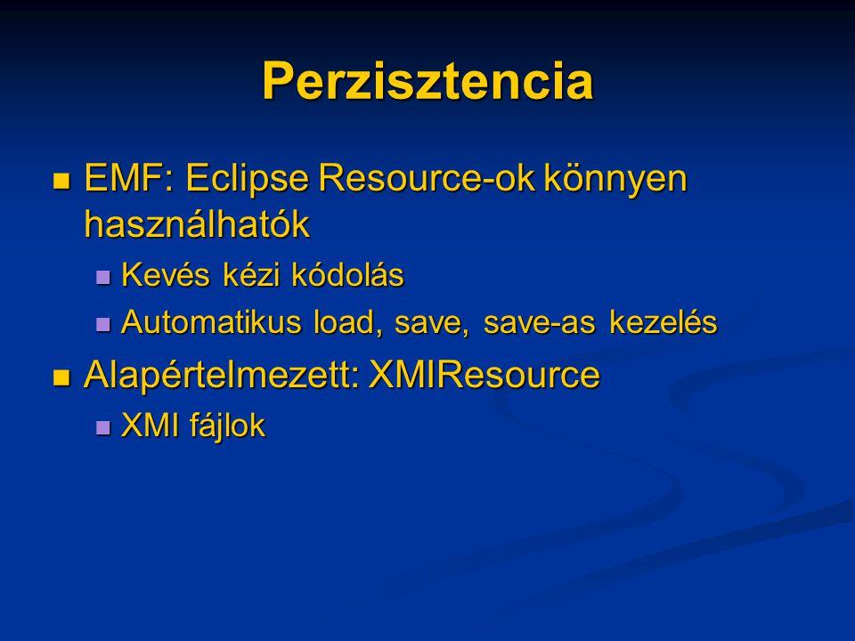 Perzisztencia EMF: Eclipse Resource-ok könnyen használhatók EMF: Eclipse Resource-ok könnyen használhatók Kevés kézi kódolás Kevés kézi kódolás Automatikus load, save, save-as kezelés Automatikus load, save, save-as kezelés Alapértelmezett: XMIResource Alapértelmezett: XMIResource XMI fájlok XMI fájlok