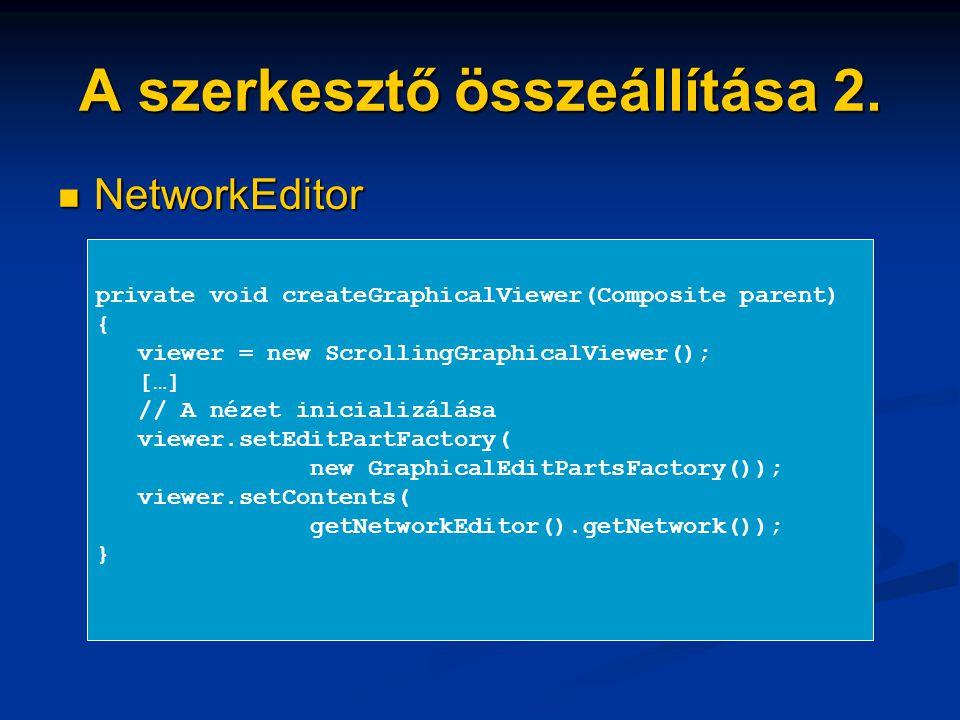 A szerkesztő összeállítása 2. NetworkEditor NetworkEditor private void createGraphicalViewer(Composite parent) { viewer = new ScrollingGraphicalViewer