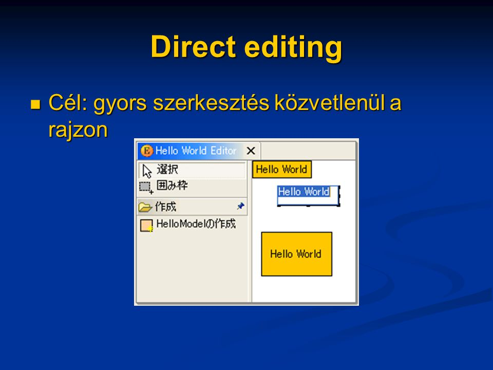 Grafikus nézet nagyítása 3.1 Editor felkészítése Editor felkészítése protected void configureGraphicalViewer() { […] […] ScalableRootEditPart rootEditPart = ScalableRootEditPart rootEditPart = new ScalableRootEditPart(); viewer.setRootEditPart(rootEditPart); viewer.setRootEditPart(rootEditPart); ZoomManager manager = rootEditPart.getZoomManager(); ZoomManager manager = rootEditPart.getZoomManager(); IAction action = new ZoomInAction(manager); IAction action = new ZoomInAction(manager); getActionRegistry().registerAction(action); getActionRegistry().registerAction(action); action = new ZoomOutAction(manager); action = new ZoomOutAction(manager); getActionRegistry().registerAction(action); getActionRegistry().registerAction(action); […] […]}
