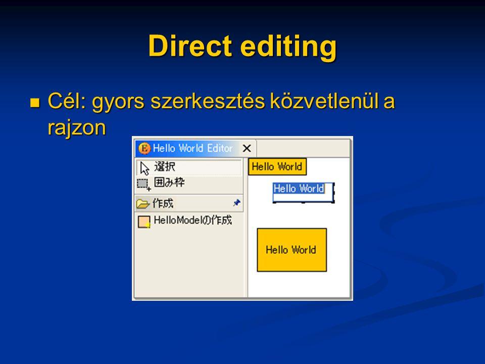 Direct editing Cél: gyors szerkesztés közvetlenül a rajzon Cél: gyors szerkesztés közvetlenül a rajzon