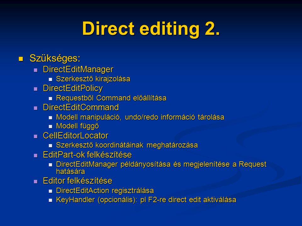 Direct editing 2. Szükséges: Szükséges: DirectEditManager DirectEditManager Szerkesztő kirajzolása Szerkesztő kirajzolása DirectEditPolicy DirectEditP