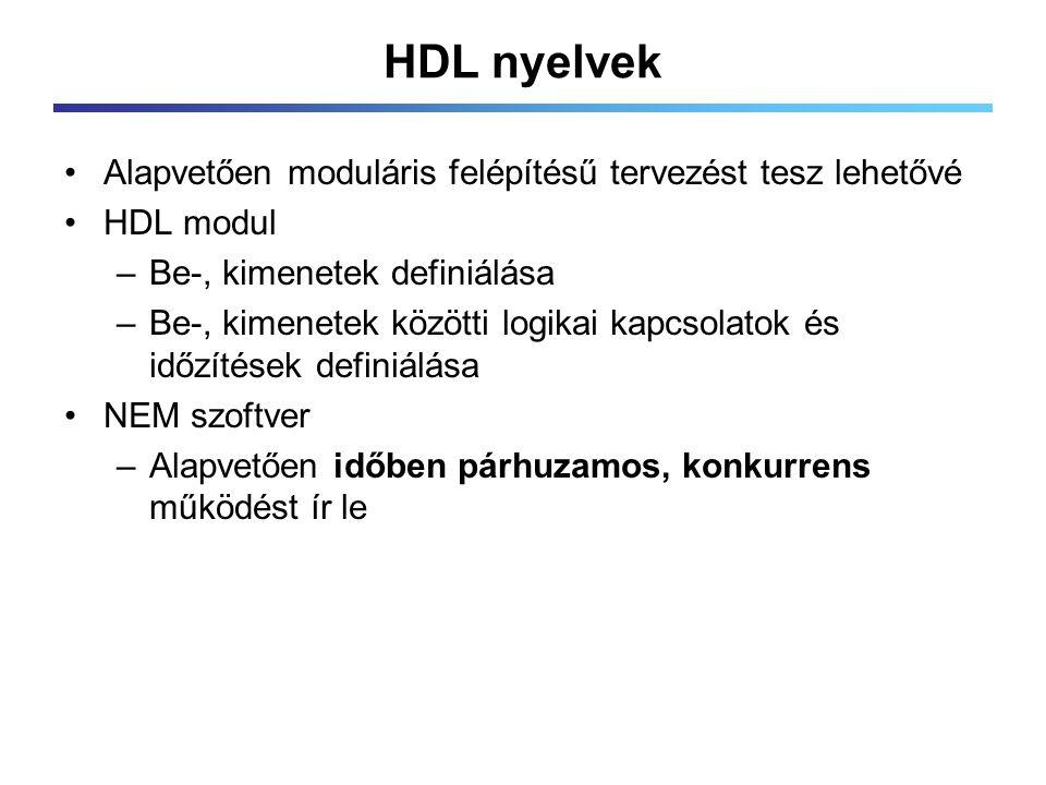 HDL nyelvek Alapvetően moduláris felépítésű tervezést tesz lehetővé HDL modul –Be-, kimenetek definiálása –Be-, kimenetek közötti logikai kapcsolatok és időzítések definiálása NEM szoftver –Alapvetően időben párhuzamos, konkurrens működést ír le