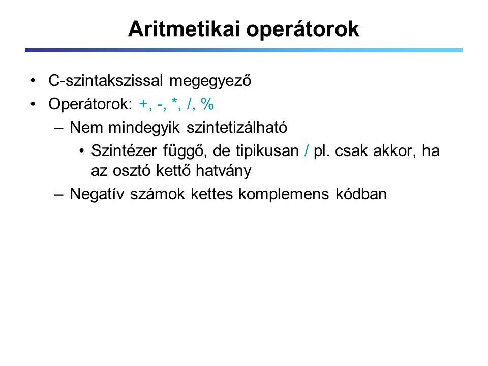 Aritmetikai operátorok C-szintakszissal megegyező Operátorok: +, -, *, /, % –Nem mindegyik szintetizálható Szintézer függő, de tipikusan / pl.