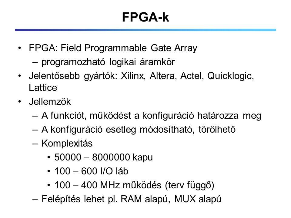FPGA-k FPGA: Field Programmable Gate Array –programozható logikai áramkör Jelentősebb gyártók: Xilinx, Altera, Actel, Quicklogic, Lattice Jellemzők –A funkciót, működést a konfiguráció határozza meg –A konfiguráció esetleg módosítható, törölhető –Komplexitás 50000 – 8000000 kapu 100 – 600 I/O láb 100 – 400 MHz működés (terv függő) –Felépítés lehet pl.