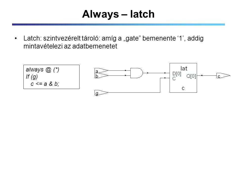 """Always – latch Latch: szintvezérelt tároló: amíg a """"gate bemenente '1', addig mintavételezi az adatbemenetet always @ (*) If (g) c <= a & b;"""