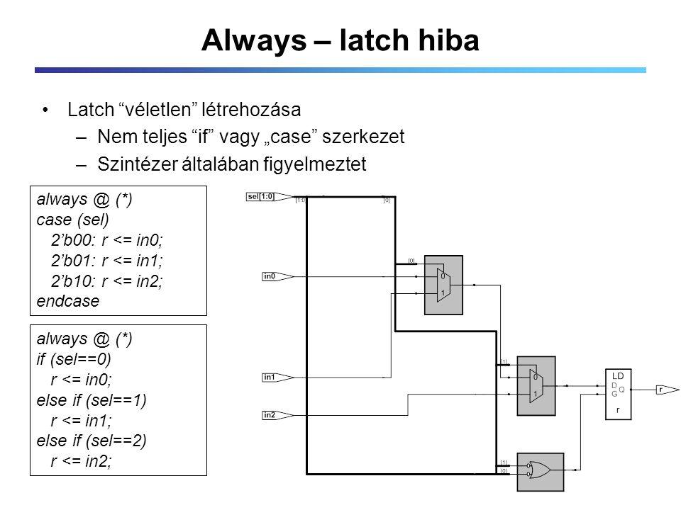 """Always – latch hiba Latch véletlen létrehozása –Nem teljes if vagy """"case szerkezet –Szintézer általában figyelmeztet always @ (*) case (sel) 2'b00: r <= in0; 2'b01: r <= in1; 2'b10: r <= in2; endcase always @ (*) if (sel==0) r <= in0; else if (sel==1) r <= in1; else if (sel==2) r <= in2;"""