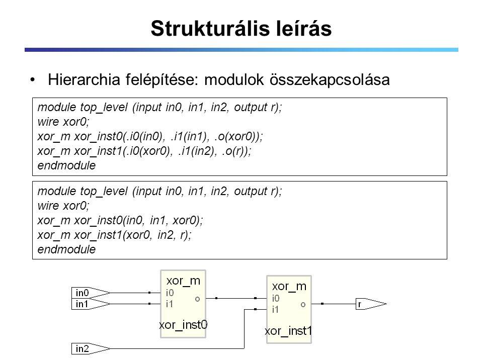 Strukturális leírás Hierarchia felépítése: modulok összekapcsolása module top_level (input in0, in1, in2, output r); wire xor0; xor_m xor_inst0(.i0(in0),.i1(in1),.o(xor0)); xor_m xor_inst1(.i0(xor0),.i1(in2),.o(r)); endmodule module top_level (input in0, in1, in2, output r); wire xor0; xor_m xor_inst0(in0, in1, xor0); xor_m xor_inst1(xor0, in2, r); endmodule