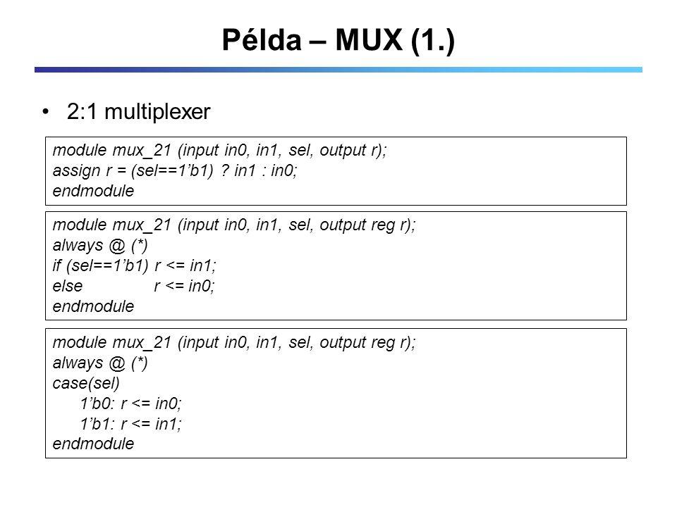 Példa – MUX (1.) 2:1 multiplexer module mux_21 (input in0, in1, sel, output r); assign r = (sel==1'b1) .
