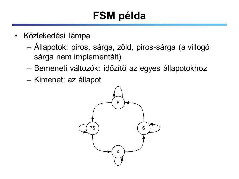 FSM példa Közlekedési lámpa –Állapotok: piros, sárga, zöld, piros-sárga (a villogó sárga nem implementált) –Bemeneti változók: időzítő az egyes állapotokhoz –Kimenet: az állapot