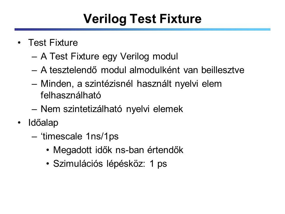 Verilog Test Fixture Test Fixture –A Test Fixture egy Verilog modul –A tesztelendő modul almodulként van beillesztve –Minden, a szintézisnél használt nyelvi elem felhasználható –Nem szintetizálható nyelvi elemek Időalap –'timescale 1ns/1ps Megadott idők ns-ban értendők Szimulációs lépésköz: 1 ps