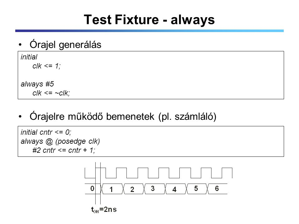 Test Fixture - always Órajel generálás Órajelre működő bemenetek (pl.
