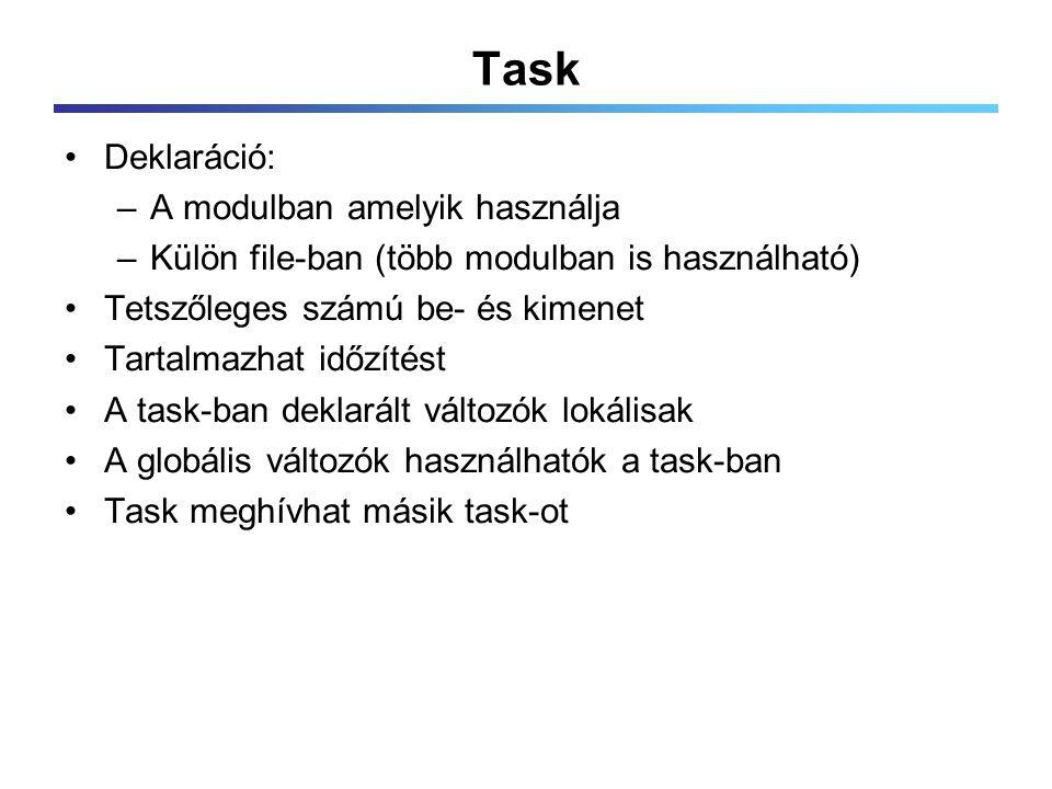 Task Deklaráció: –A modulban amelyik használja –Külön file-ban (több modulban is használható) Tetszőleges számú be- és kimenet Tartalmazhat időzítést A task-ban deklarált változók lokálisak A globális változók használhatók a task-ban Task meghívhat másik task-ot