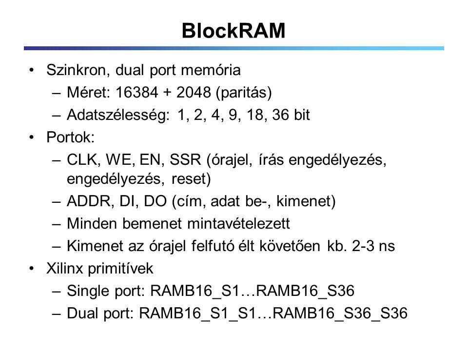 BlockRAM Szinkron, dual port memória –Méret: 16384 + 2048 (paritás) –Adatszélesség: 1, 2, 4, 9, 18, 36 bit Portok: –CLK, WE, EN, SSR (órajel, írás engedélyezés, engedélyezés, reset) –ADDR, DI, DO (cím, adat be-, kimenet) –Minden bemenet mintavételezett –Kimenet az órajel felfutó élt követően kb.