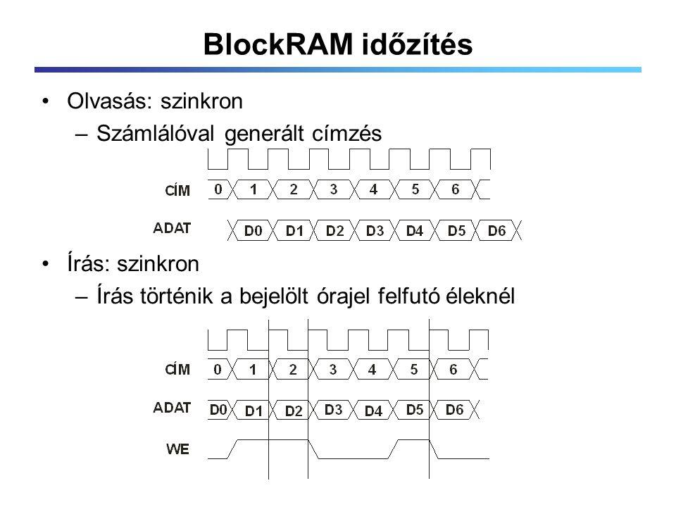 BlockRAM időzítés Olvasás: szinkron –Számlálóval generált címzés Írás: szinkron –Írás történik a bejelölt órajel felfutó éleknél