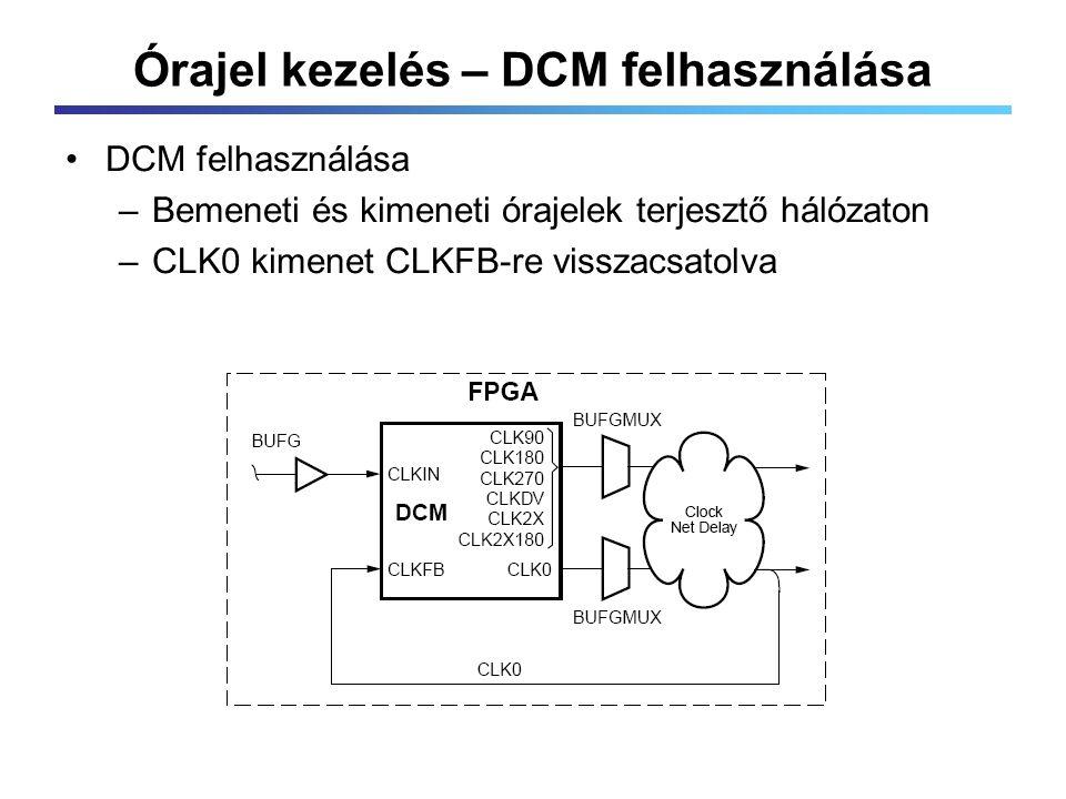 Órajel kezelés – DCM felhasználása DCM felhasználása –Bemeneti és kimeneti órajelek terjesztő hálózaton –CLK0 kimenet CLKFB-re visszacsatolva