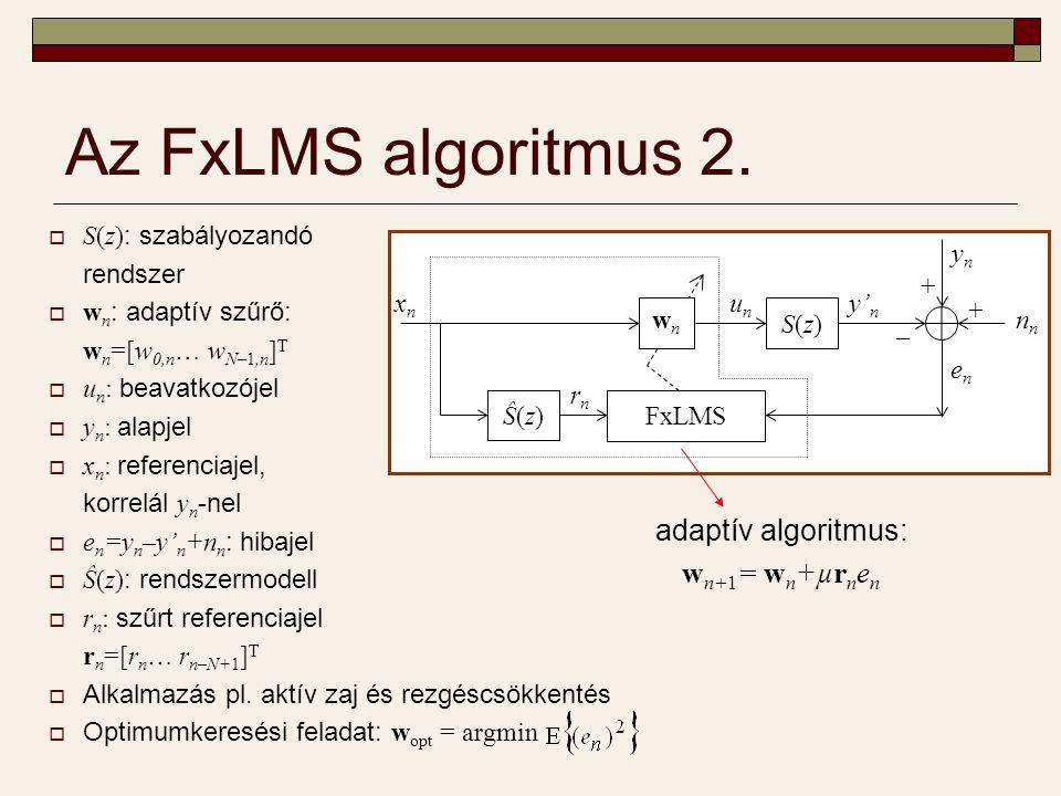 A hiba-előjel alapú FxLMS algoritmus (SE-FxLMS)  A hibajel helyett annak előjelét használjuk  Matematikai háttér: w opt = argmin  Kedvező számításigény  Csökkenő adat- mennyiség a visszacsatoló hurokban  Hiba-előjel elv alkalmazása adattömörítésre Ŝ(z)Ŝ(z)SE-FxLMS wnwn S(z)S(z) xnxn rnrn unun y' n ynyn enen n + + – adaptív algoritmus: w n+1 = w n +µr n sign(e n ) µ: konvergenciaparaméter 1 −1−1 enen