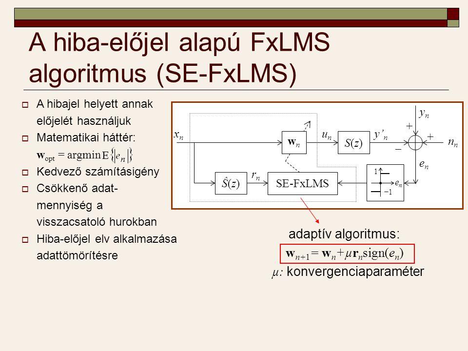 Alkalmazási példa  Vezetéknélküli aktív zajcsökkentő rendszer DSP: jelfeldolgozás, adaptív algoritmus futtatása Szenzor: zajérzékelés S(z) szabályozandó szakasz: akusztikus rendszer y n : zaj, y' n : ellenzaj  b bites adatok esetén a rádiós hálózatban továbbított hasznos adatok mennyisége b -ad részére csökken szenzor DSP gateway zajforrás − y'n− y'n ynyn rádiós kommunikáció sign(e n ) [+++−−…−−−+] t enen + + + − − … − − − + S(z)S(z)