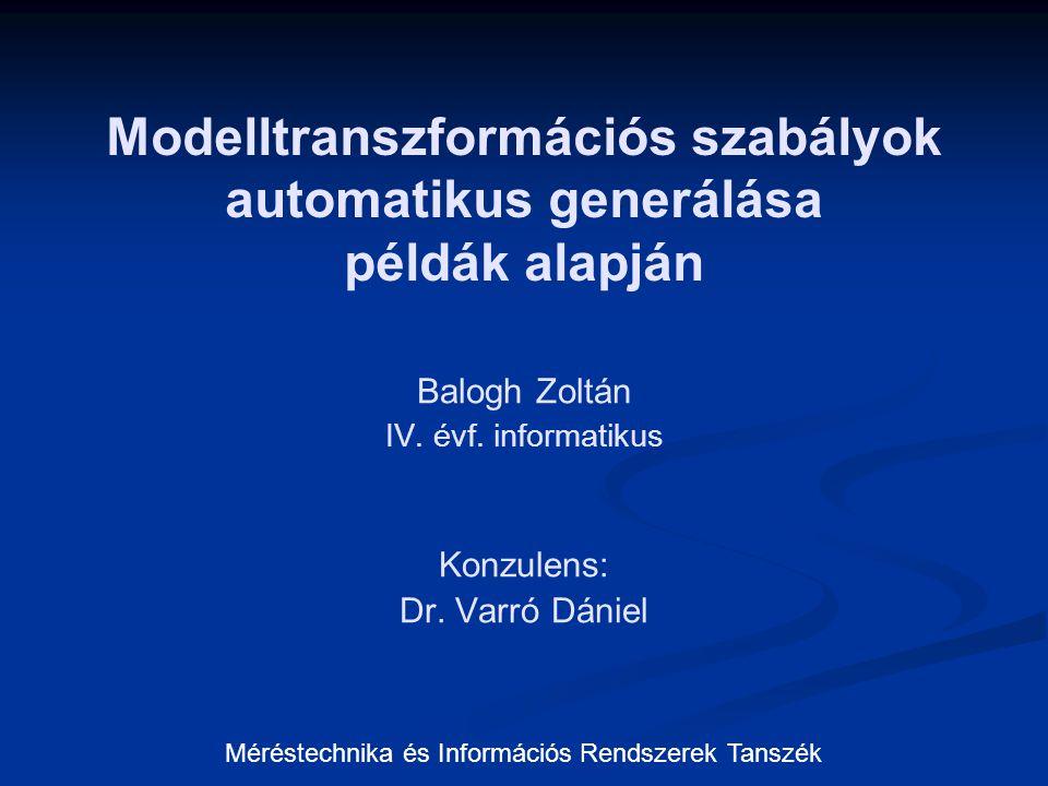 Modelltranszformációs szabályok automatikus generálása példák alapján Balogh Zoltán IV. évf. informatikus Konzulens: Dr. Varró Dániel Méréstechnika és