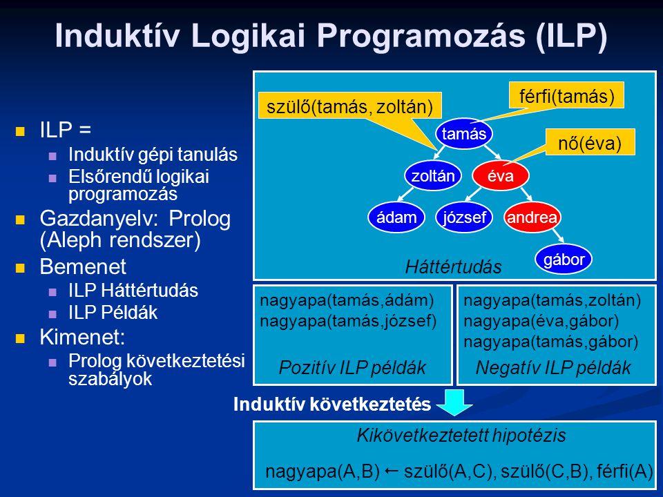 Induktív Logikai Programozás (ILP) ILP = Induktív gépi tanulás Elsőrendű logikai programozás Gazdanyelv: Prolog (Aleph rendszer) Bemenet ILP Háttértud