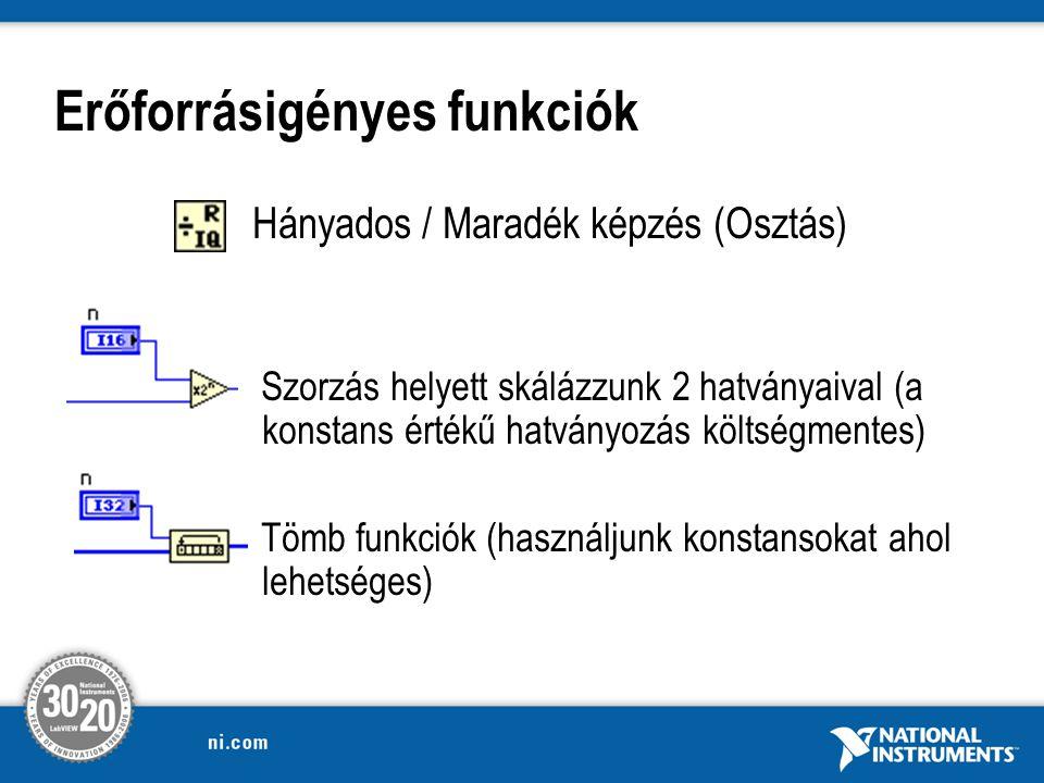 Erőforrásigényes funkciók Hányados / Maradék képzés (Osztás) Szorzás helyett skálázzunk 2 hatványaival (a konstans értékű hatványozás költségmentes) Tömb funkciók (használjunk konstansokat ahol lehetséges)