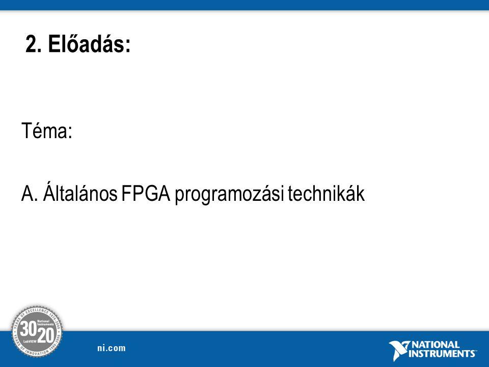 2. Előadás: Téma: A. Általános FPGA programozási technikák