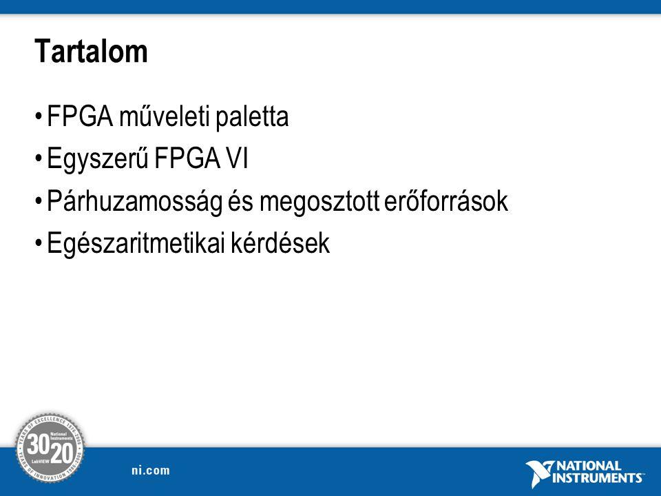 Tartalom FPGA műveleti paletta Egyszerű FPGA VI Párhuzamosság és megosztott erőforrások Egészaritmetikai kérdések
