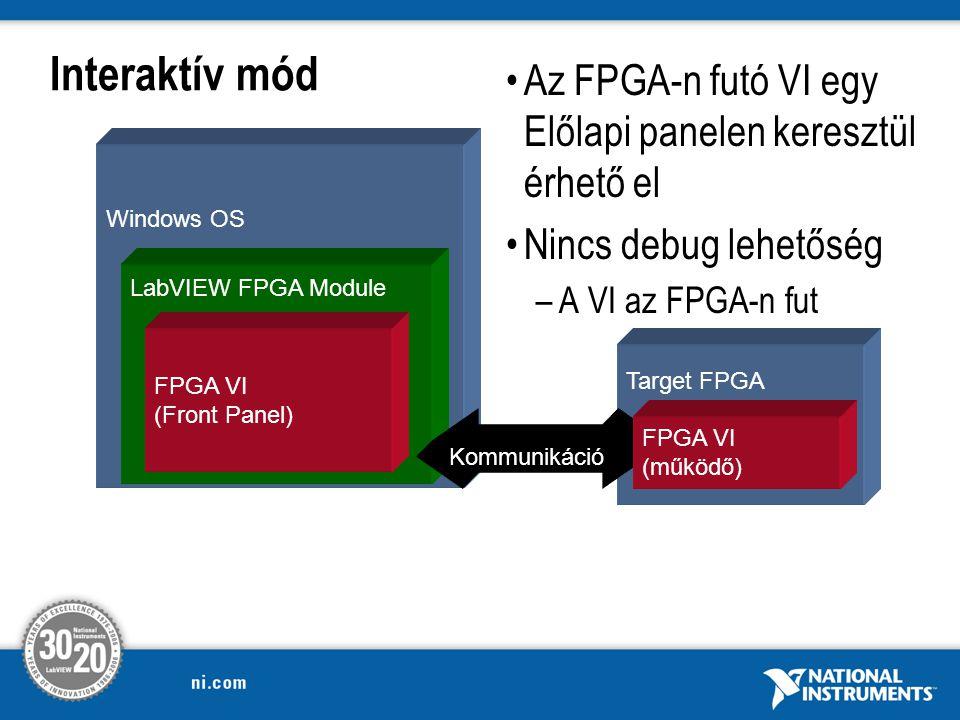 Interaktív mód Windows OS LabVIEW FPGA Module Target FPGA FPGA VI (Front Panel) Az FPGA-n futó VI egy Előlapi panelen keresztül érhető el Nincs debug lehetőség –A VI az FPGA-n fut Kommunikáció FPGA VI (működő)