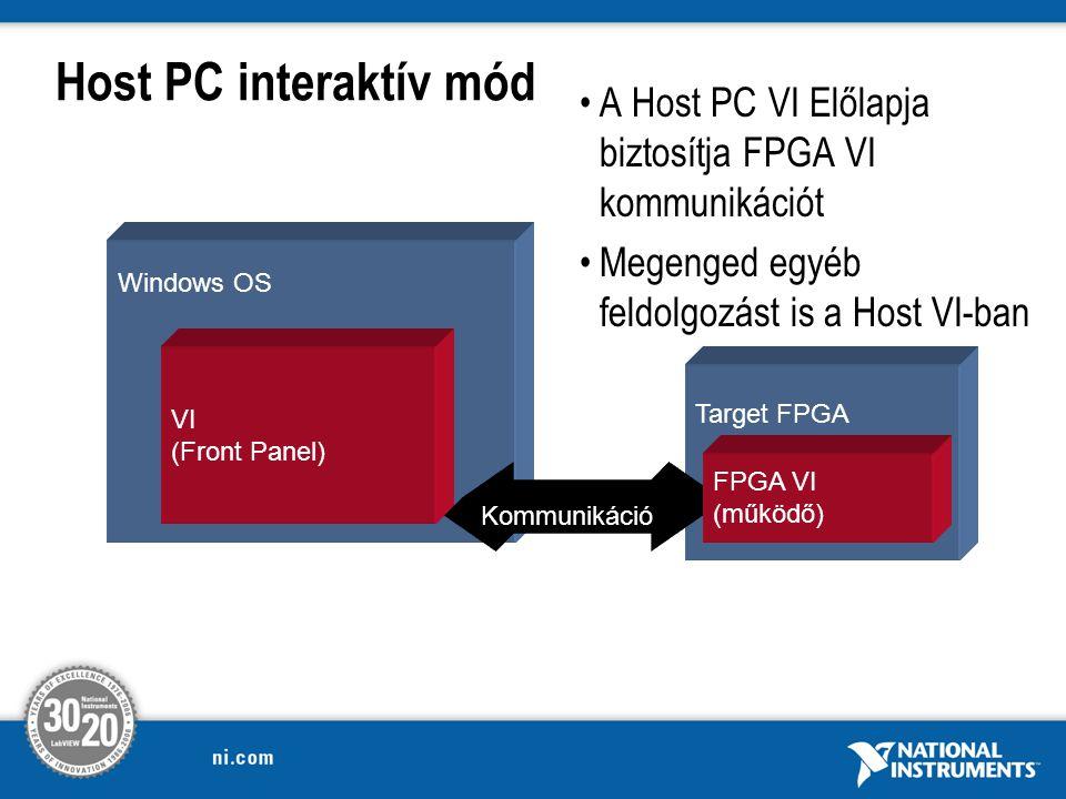 Host PC interaktív mód Windows OS Target FPGA VI (Front Panel) A Host PC VI Előlapja biztosítja FPGA VI kommunikációt Megenged egyéb feldolgozást is a Host VI-ban Kommunikáció FPGA VI (működő)