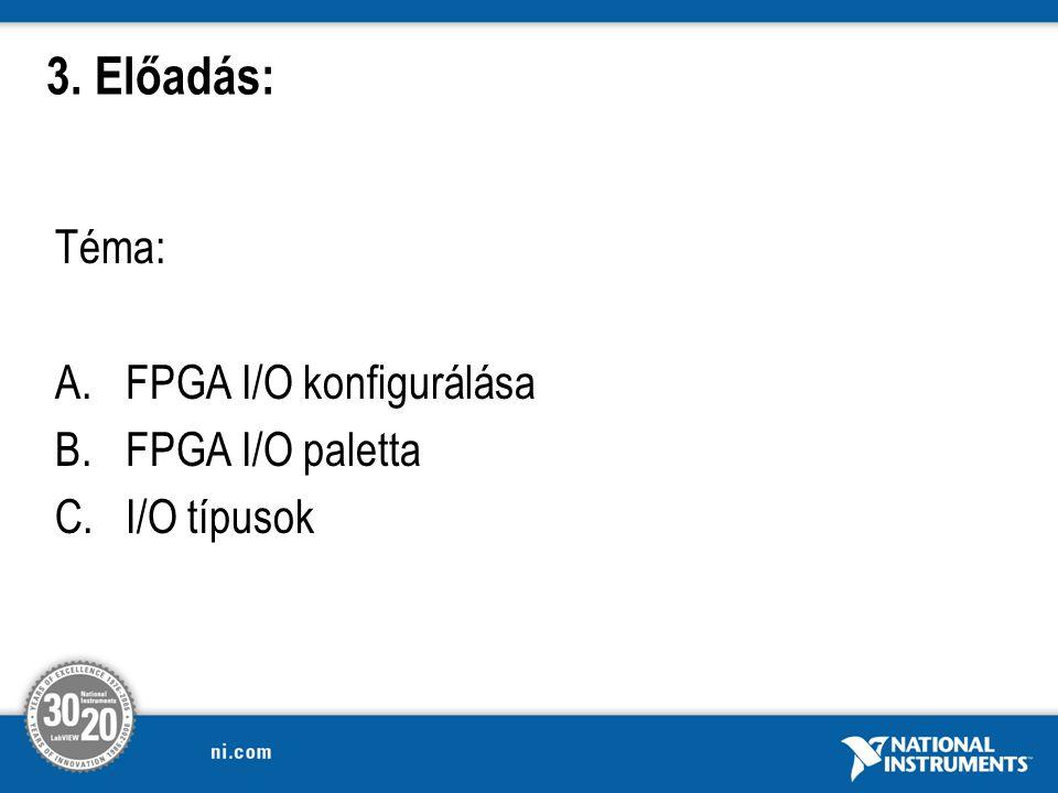 Téma: A.FPGA I/O konfigurálása B.FPGA I/O paletta C.I/O típusok 3. Előadás: