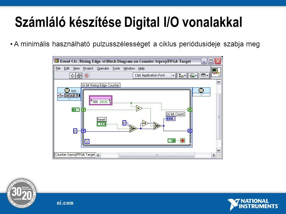 Számláló készítése Digital I/O vonalakkal A minimális használható pulzusszélességet a ciklus periódusideje szabja meg