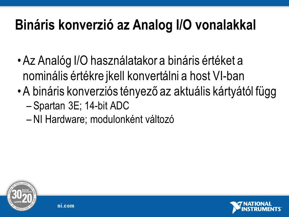 Bináris konverzió az Analog I/O vonalakkal Az Analóg I/O használatakor a bináris értéket a nominális értékre jkell konvertálni a host VI-ban A bináris konverziós tényező az aktuális kártyától függ –Spartan 3E; 14-bit ADC –NI Hardware; modulonként változó