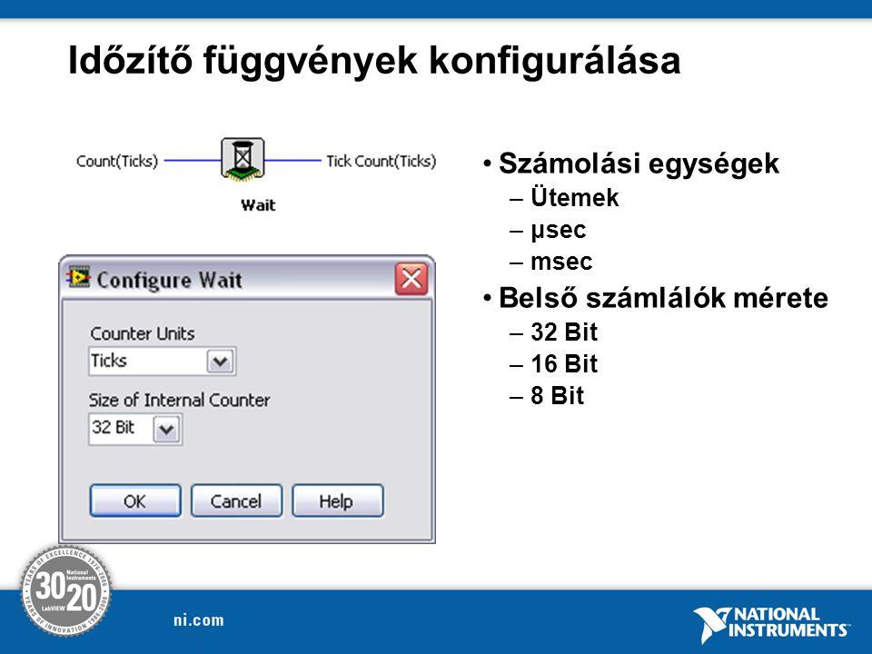 Időzítő függvények konfigurálása Számolási egységek –Ütemek –μsec –msec Belső számlálók mérete –32 Bit –16 Bit –8 Bit