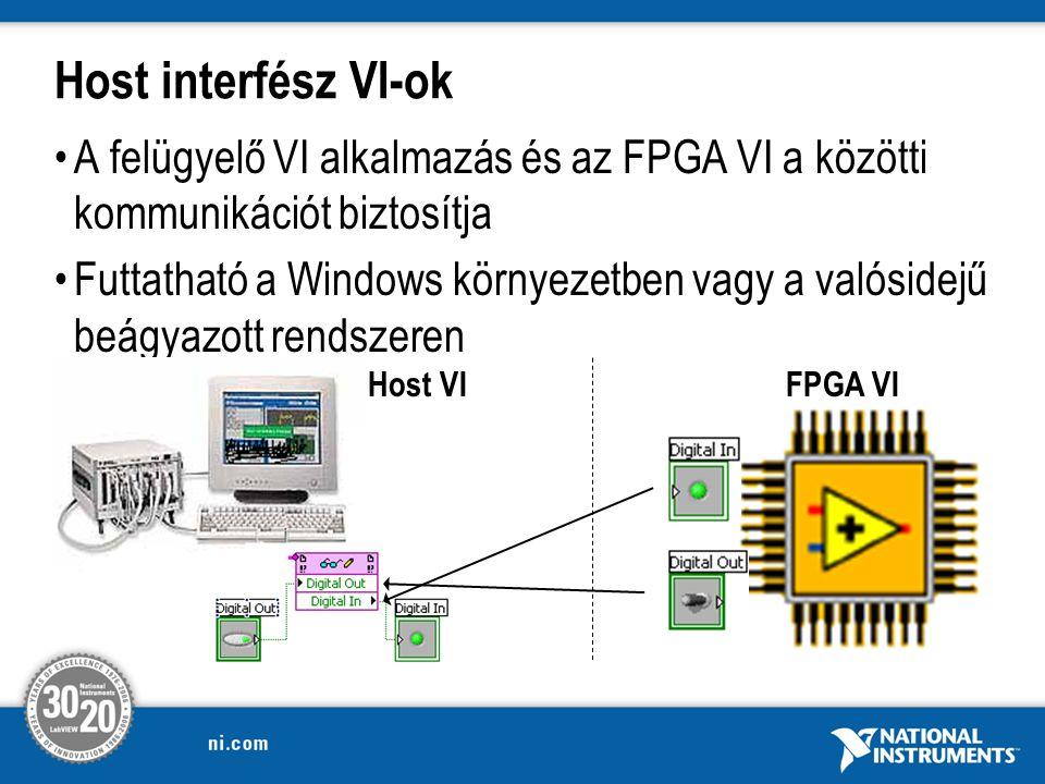 Host interfész VI-ok A felügyelő VI alkalmazás és az FPGA VI a közötti kommunikációt biztosítja Futtatható a Windows környezetben vagy a valósidejű beágyazott rendszeren FPGA VIHost VI