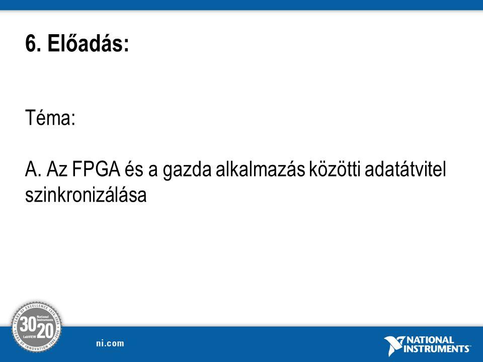 Téma: A. Az FPGA és a gazda alkalmazás közötti adatátvitel szinkronizálása 6. Előadás: