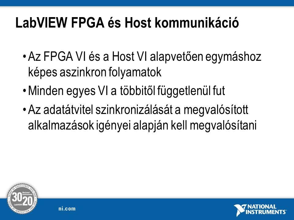 LabVIEW FPGA és Host kommunikáció Az FPGA VI és a Host VI alapvetően egymáshoz képes aszinkron folyamatok Minden egyes VI a többitől függetlenül fut Az adatátvitel szinkronizálását a megvalósított alkalmazások igényei alapján kell megvalósítani