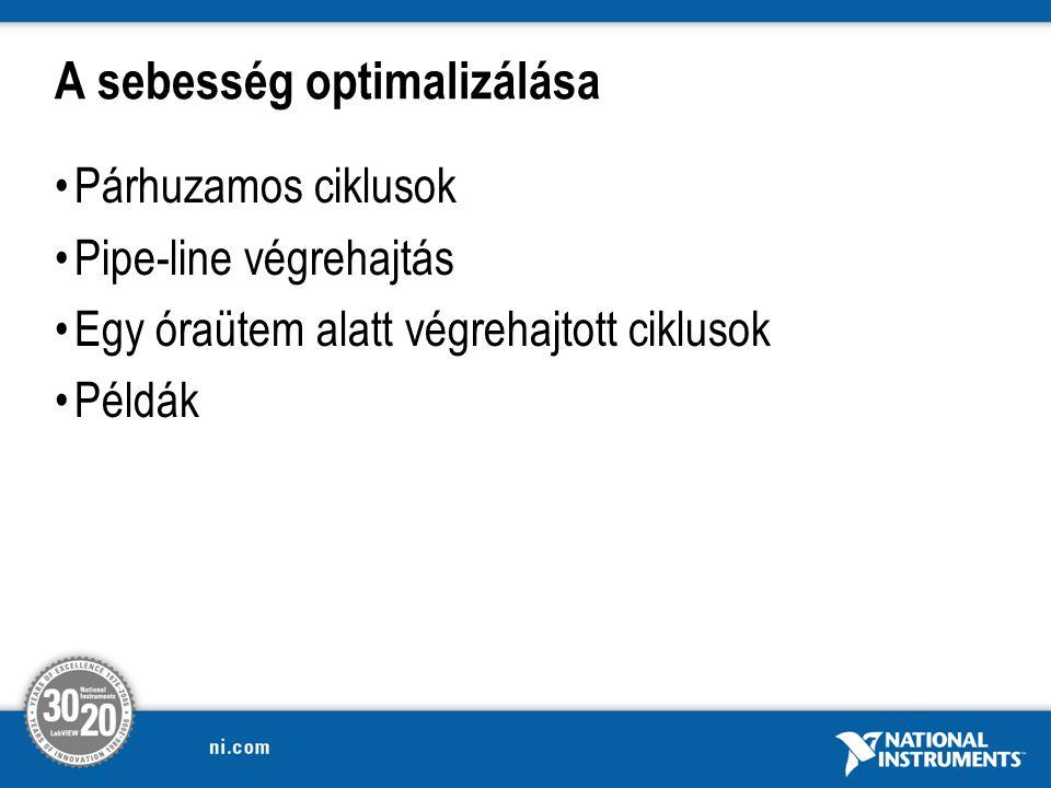A sebesség optimalizálása Párhuzamos ciklusok Pipe-line végrehajtás Egy óraütem alatt végrehajtott ciklusok Példák