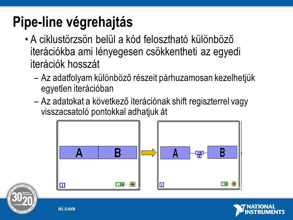 Pipe-line végrehajtás A ciklustörzsön belül a kód felosztható különböző iterációkba ami lényegesen csökkentheti az egyedi iterációk hosszát –Az adatfolyam különböző részeit párhuzamosan kezelhetjük egyetlen iterációban –Az adatokat a következő iterációnak shift regiszterrel vagy visszacsatoló pontokkal adhatjuk át