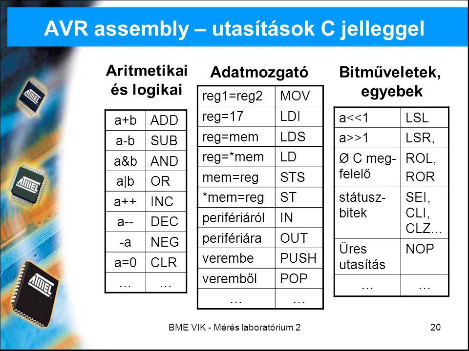 BME VIK - Mérés laboratórium 220 AVR assembly – utasítások C jelleggel a+bADD a-bSUB a&bAND a|bOR a++INC a--DEC -aNEG a=0CLR …… Aritmetikai és logikai