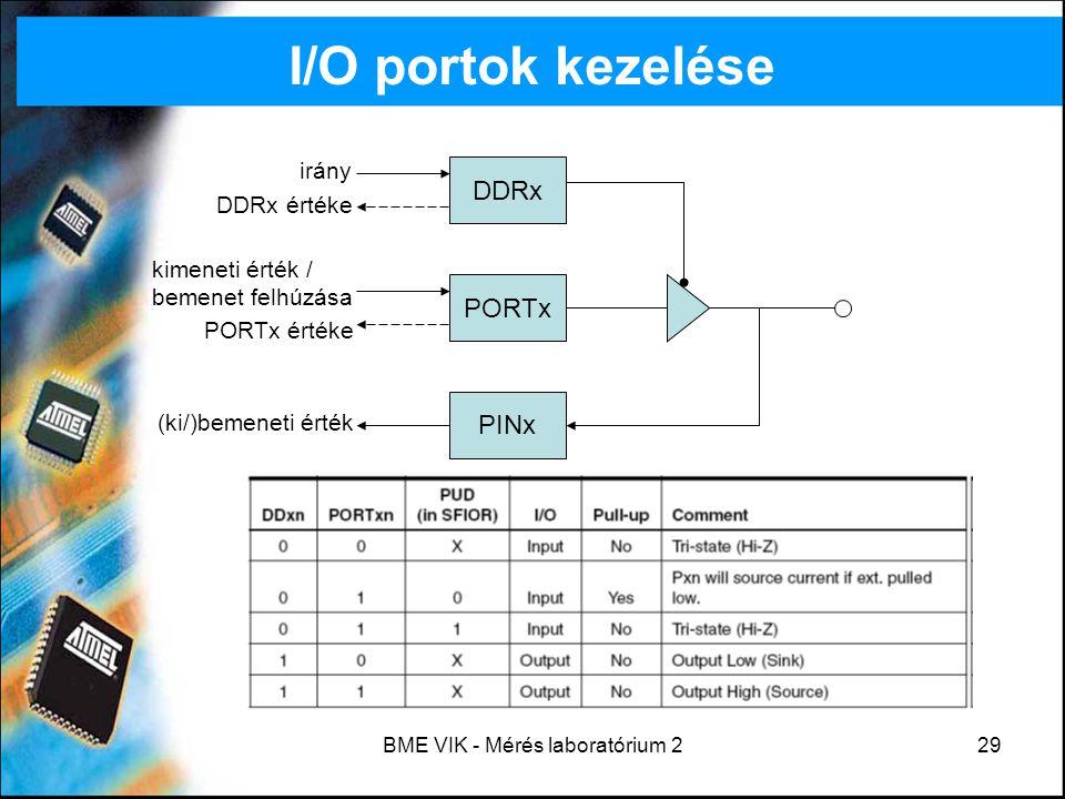BME VIK - Mérés laboratórium 229 I/O portok kezelése DDRx PORTx PINx irány DDRx értéke kimeneti érték / bemenet felhúzása PORTx értéke (ki/)bemeneti é