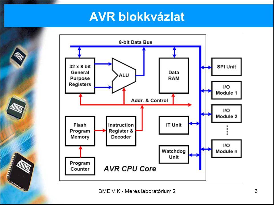 """BME VIK - Mérés laboratórium 27 ATmega128 programozása AVR: Atmel RISC processzorcsalád, ATmega128: AVR processzor 128K flash memóriával (""""Advanced Virtual RISC ) Fejlesztőkörnyezet: AVRStudio –Assembly és C nyelv támogatott (utóbbi nem beépített: AVR-GCC, WinAVR) –Hardverben történő felprogramozás (ISP, In System Programming) és debug (JTAG-ICE, In Circuit Emulation) –Jó minőségű szimulációs felület (mikrokontroller + integrált perifériák) – kész hardver nélkül is elkezdhető a programozás Házi feladatot mindenki ellenőrizze otthon."""