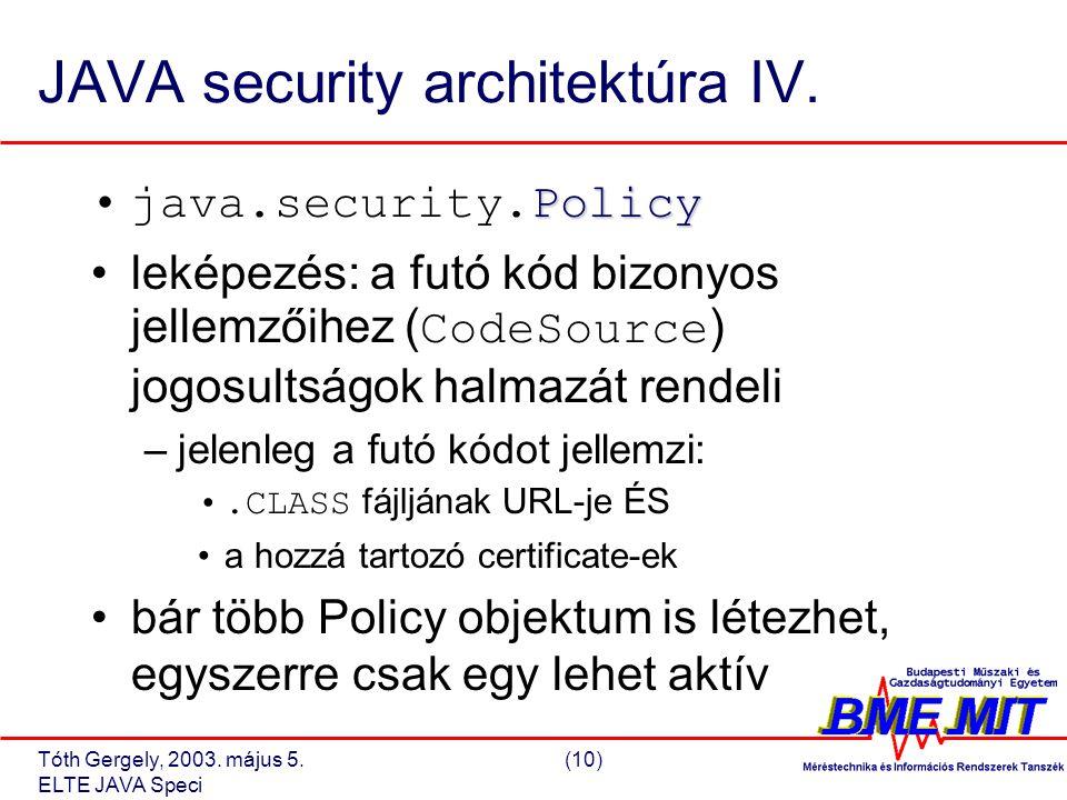 Tóth Gergely, 2003. május 5.(10) ELTE JAVA Speci JAVA security architektúra IV.